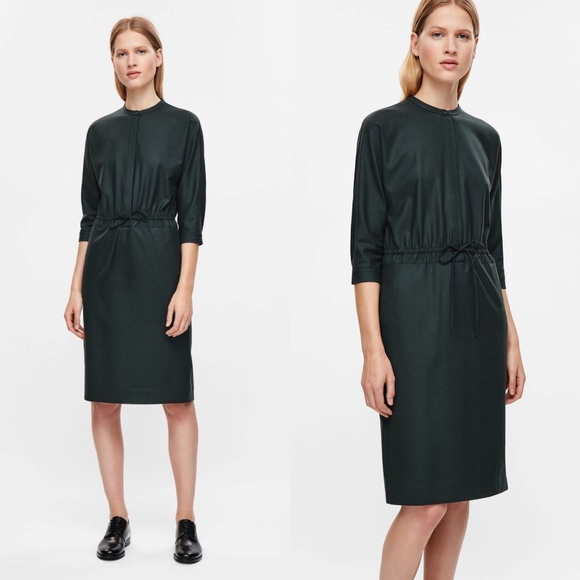 COS Dresses   Skirts - COS Wool Drawstring shirt dress in Forest Green 8d5132dbe